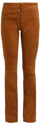 Frame Boot-cut Suede Trousers - Womens - Light Brown