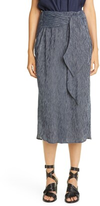 Zero Maria Cornejo Tie Front Cotton Midi Skirt