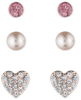 lonna & lilly Heart, Sphere and Disc Stud Earrings Set