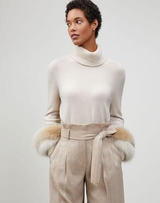 Lafayette 148 New York Cashmere Fox Fur-Trimmed Turtleneck Sweater