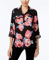 NY Collection Collared Utility Blouse