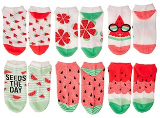 Sof Sole Watermelon No Show 6-Pack (Assorted) Women's Crew Cut Socks Shoes