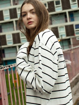 [Unisex]WWS PATCHED STRIPED L/S TEE_WHITE