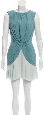 Azzaro Bow-Accented Silk Mini Dress