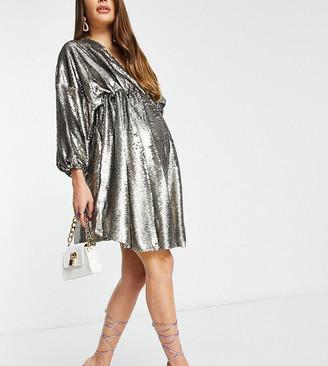 Club L Maternity Club L London Maternity sequin plunge front mini skater dress in grey