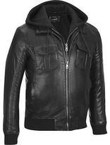 Black Rivet Mens Big & Tall Faux-Leather Bomber Jacket W/ Removeable Hood & Knit