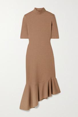 AAIZÉL Net Sustain Asymmetric Ruffled Ribbed-knit Midi Dress - Tan