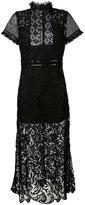 John Richmond leather trim lace dress - women - Leather/Polyester - M