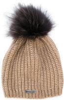 Norton Co. knit raccoon fur pom pom beanie