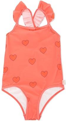 Tiny Cottons Heart Print Ruffle Swimsuit