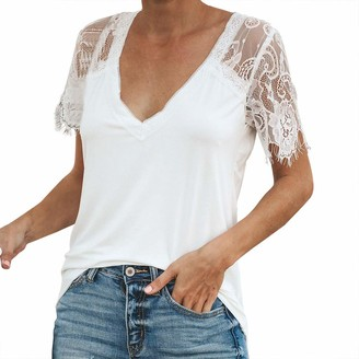 NEEDRA SALES Tops for Womens Casual Lace Sleeve Soild Splice V Neck Tunic Shirt Tops Blouse White