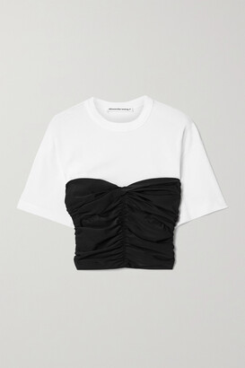 alexanderwang.t Layered Ruched Stretch-jersey And Cotton-jersey Top - Black