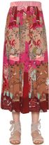 Valentino Printed Pleated Crepe De Chine Skirt