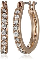 "Anne Klein Classic Rose"" Rose Gold Tone Crystal Mini Hoop Earrings"