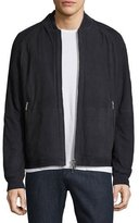 HUGO BOSS Embossed Suede Bomber Jacket, Navy