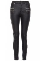 Quiz Black PU Zip Detail High Waisted Skinny Jeans