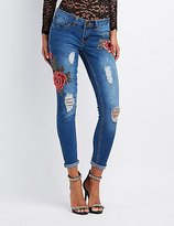 Charlotte Russe Rose Embroidered Destroyed Skinny Jeans