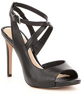Gianni Bini Aminaa Leather Criss Cross Ankle Strap Dress Sandals