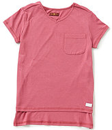 7 For All Mankind Big Girls 7-16 V-Neck Hi-Low Pocket Tee