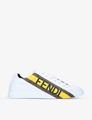 Fendi Logo-print leather tennis trainers