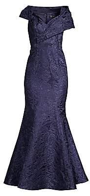 Aidan Mattox Women's Portrait Jacquard Fit-&-Flare Gown