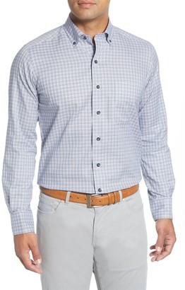 David Donahue Basketweave Checkered Print Long Sleeve Casual Fit Sport Shirt