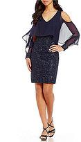 Calvin Klein Cold-Shoulder Popover Embroidered Dress