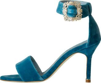 Manolo Blahnik Velvet Buckle Sandal