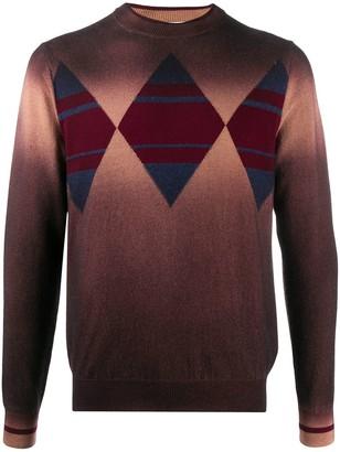 Ballantyne Diamond Panelled Knit Jumper