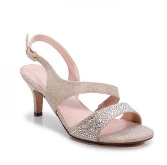 Paradox London Glitter 'Lumley' Wide Fit Low Heel Sandal
