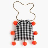 J.Crew GaiaTM for pom-pom bag in black-and-white gingham