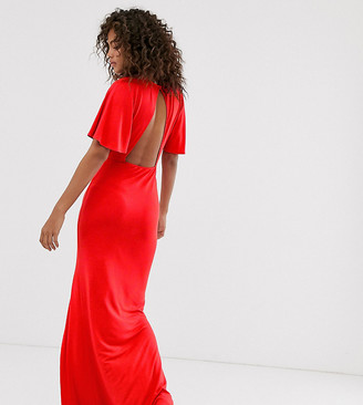 Asos Tall ASOS DESIGN Tall flutter sleeve backless maxi dress with high split