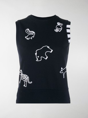 Thom Browne Chain Stitch Icon Embroidery Shell Top