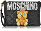 Moschino Teddy Bear Black Quilted Nylon Clutch