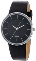 Alessi Men's Quartz Watch with Black Dial Analogue Display and Black Leather Bracelet AL8004
