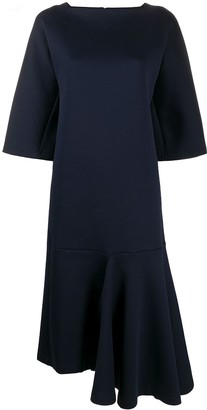 Marni Fluted-Hem Asymmetric Midi Dress
