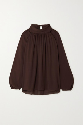 TOVE Wren Gathered Silk-georgette Blouse - Brown