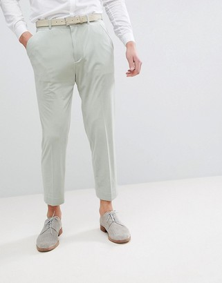 ASOS DESIGN Tapered Smart Trousers In Sage Green Velvet