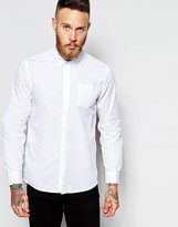 Peter Werth Shirt With Mirco Collar In Slim Fit - White