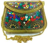 Generic Indian Vintage style Handmade stylish Ethnic Metal Clutch cum Sling Bag ,Purse, Evening bag
