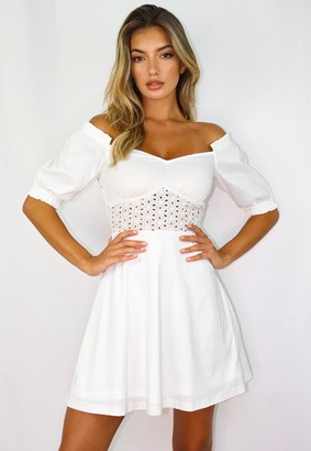 Missguided Tall White Broderie Puff Sleeve Mini Dress
