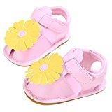 AMA(TM) Toddler Newborn Baby Girls Flower Design Sandals Rubber Sole Anti-slip Crib Shoes (0~6 Month, Pink)