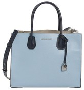MICHAEL Michael Kors Large Mercer Colorblock Leather Tote - Blue