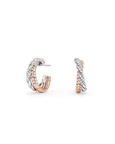David Yurman Paveflex 18K White & Rose Gold Hoop Earrings with Diamonds