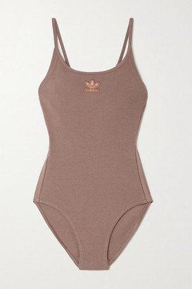 adidas Appliqued Ribbed Stretch-cotton Bodysuit - Brown
