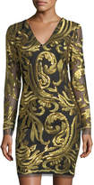Neiman Marcus Long-Sleeve Metallic-Embroidered Sheath Dress