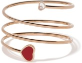 Chopard 18kt rose gold Happy Hearts diamond and red stone bangle