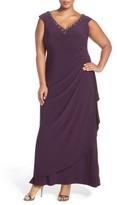 Alex Evenings Plus Size Women's Embellished V-Neck Side Drape Jersey Gown