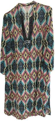 120% Lino Multicolour Linen Dress for Women