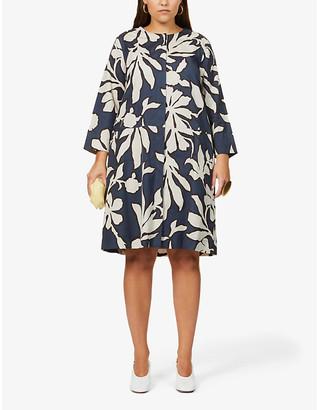 S Max Mara Ginosa graphic floral-print cotton mini dress